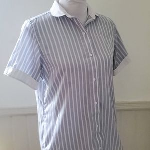 Vintage 1960s Blue Striped Peter Pan Collar Blouse